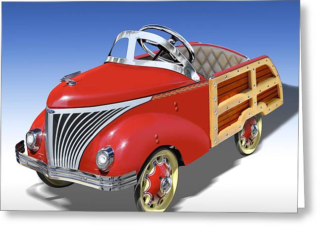 Woody Peddle Car Greeting Card by Mike McGlothlen