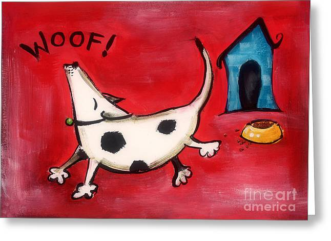 Woof Greeting Card by Diane Smith