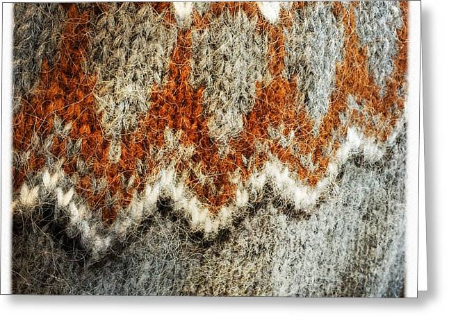Woolen Jersey Detail Grey And Orange Greeting Card
