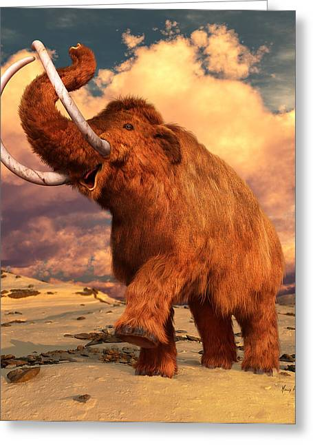 Woolly Mammoth Greeting Card by Gary Hanna