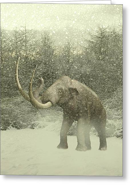 Woolly Mammoth In Snow Greeting Card