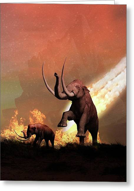 Woolly Mammoths And Meteor Greeting Card