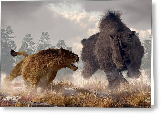 Woolly Rhino And Cave Lion Greeting Card