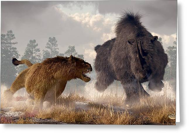 Woolly Rhino And Cave Lion Greeting Card by Daniel Eskridge