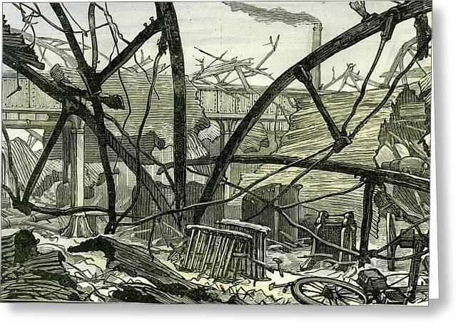 Woolwich Arsenal London 1887 Damage To The Mounting Shed Greeting Card by English School