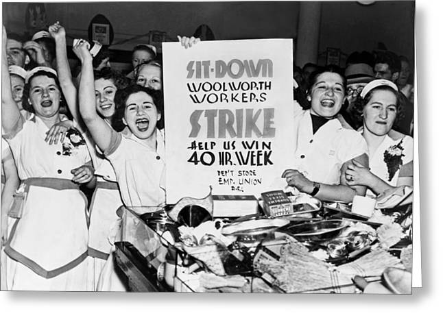 Woolworth Workers Strike Greeting Card by Underwood Archives