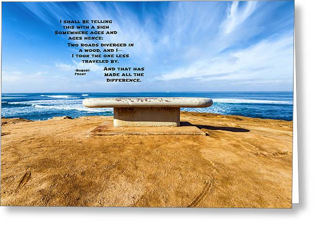 Words Above The Bench Greeting Card by Joseph S Giacalone