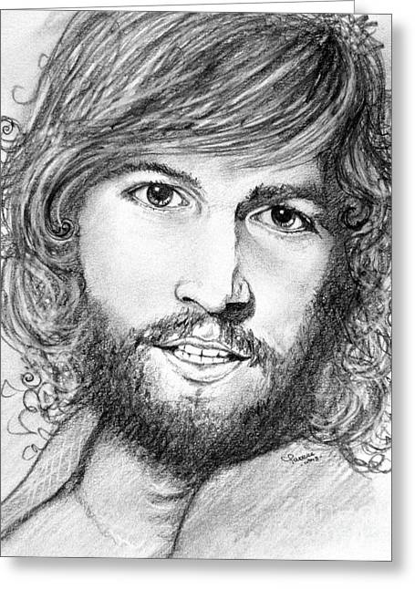 Greeting Card featuring the drawing Barry Gibb  by Patrice Torrillo