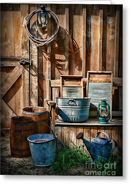 Work At The Farm Greeting Card by Paul Ward