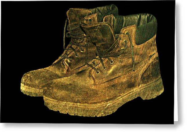 Work Boots Greeting Card by Diana Angstadt