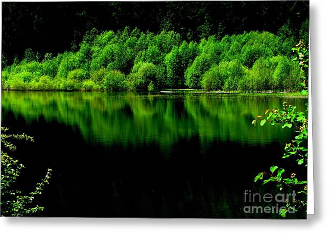 Work In Green Greeting Card by Greg Patzer
