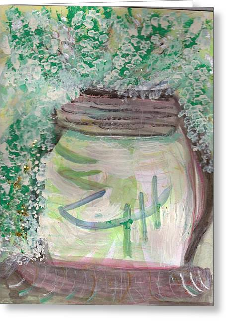 Work In Progress Whimsy Jar Greeting Card by Anne-Elizabeth Whiteway