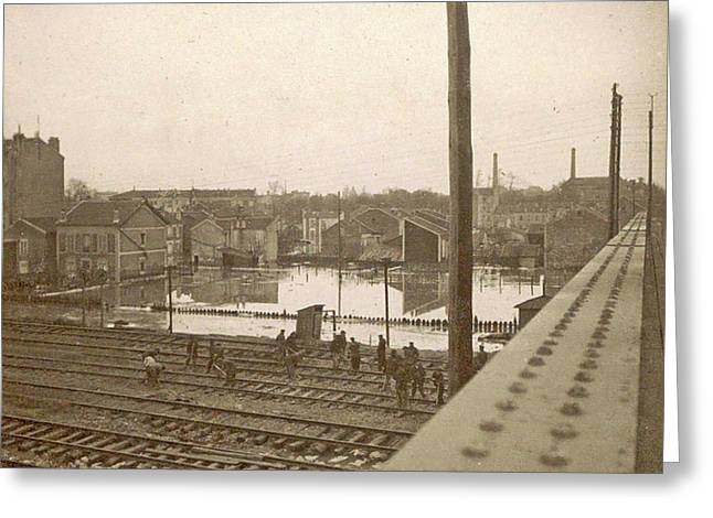 Work On Railway Tracks During The Flooding Of Paris Greeting Card