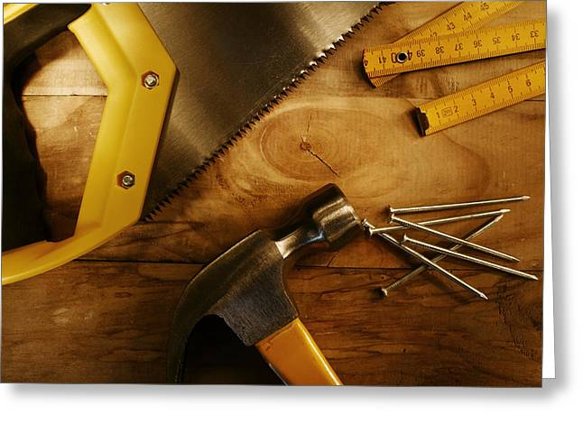 Work Tools Greeting Card by Les Cunliffe