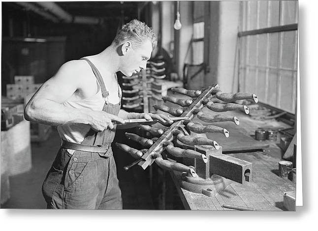 Worker Building Rubber Doll Molds, 1936 Greeting Card by Stocktrek Images
