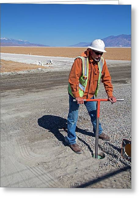 Worker Digging A Bore Hole Greeting Card