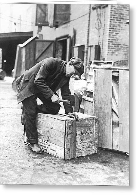 Worker Nailing Boxes Greeting Card by Underwood Archives