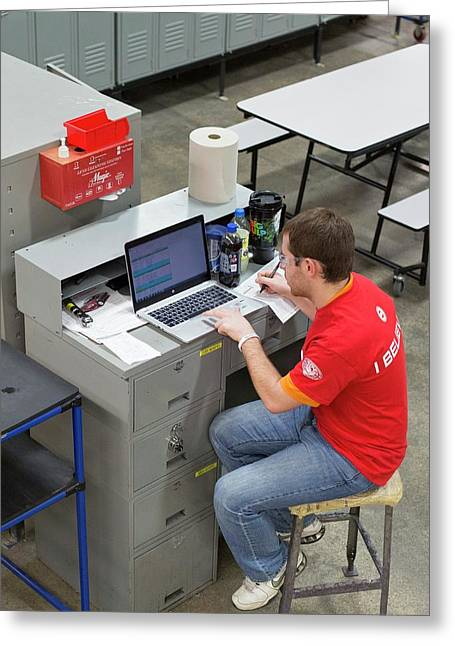 Worker Using Laptop In A Factory Greeting Card