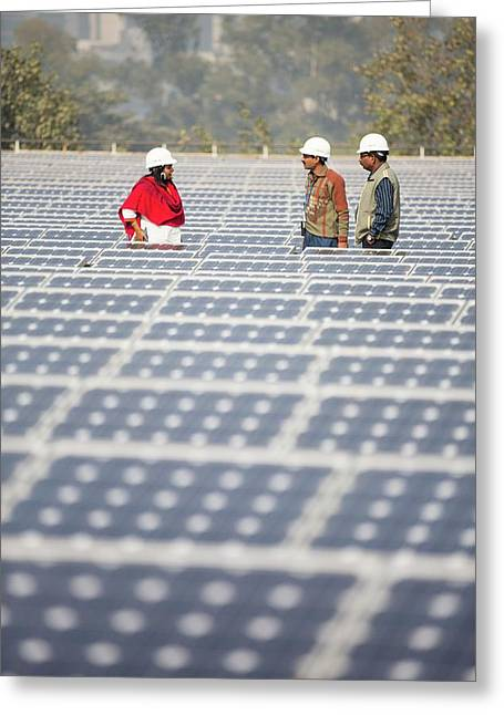 Workers At A 1 Mw Solar Power Station Greeting Card