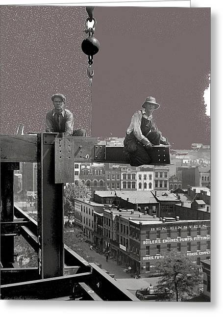 Workers Constructing Building Glass Negative Harris And Ewing Collection Washington D.c.  1929-2013 Greeting Card
