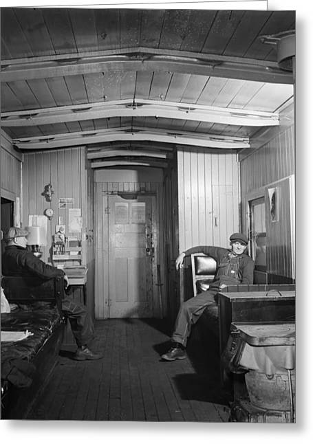 Workers In The Caboose 1942 Greeting Card by Mountain Dreams
