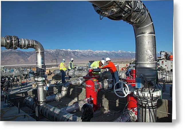 Workers Inspecting Water Pumps Greeting Card by Jim West
