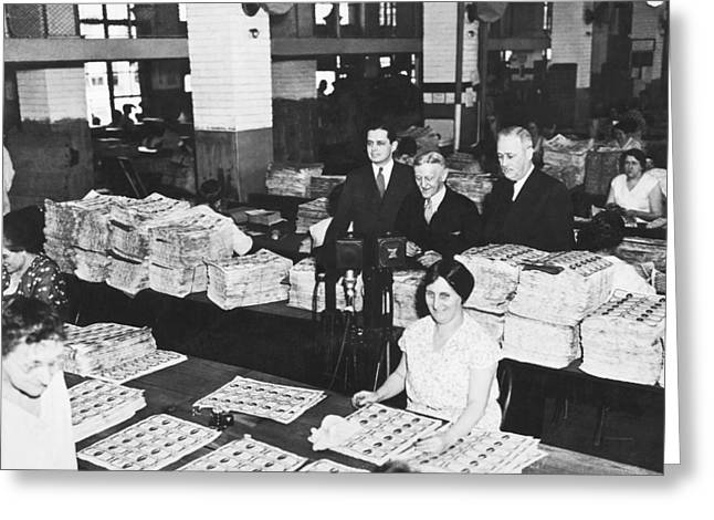 Workers Making Money Greeting Card by Underwood Archives