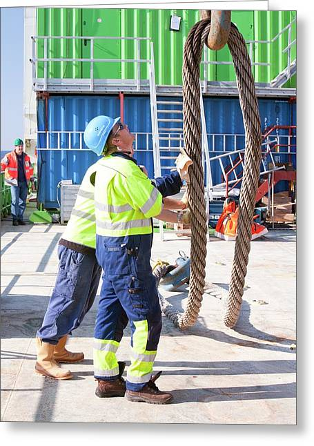 Workers Next To A Crane Hook Greeting Card