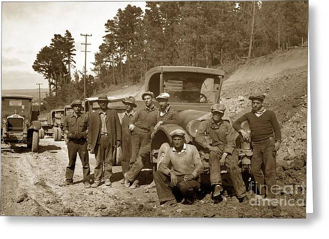 Workers On Highway One Monterey Carmel Hill California 1929 Greeting Card