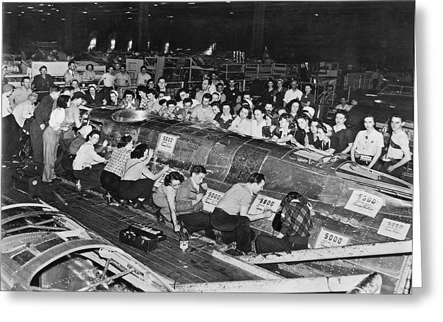 Workers Sign 5,000th B-17 Greeting Card by Underwood Archives