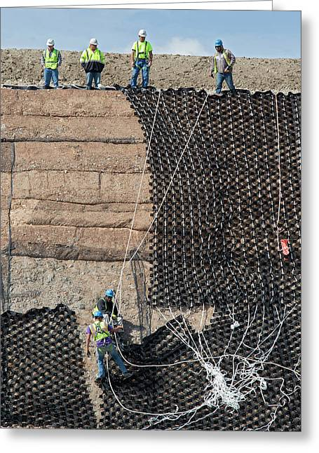 Workers Stabilising A Hillside Greeting Card
