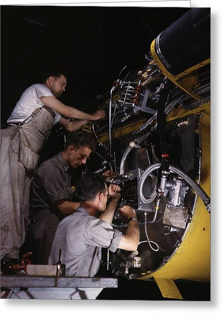 Workers Wiring Assemblies On The Fire Greeting Card by Stocktrek Images