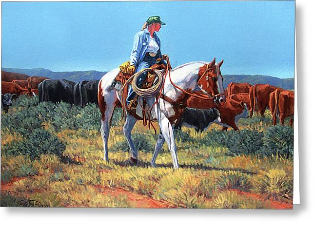 Working Cowgirl Greeting Card by Randy Follis