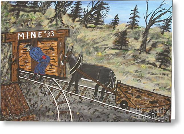 The Coal Mine Greeting Card by Jeffrey Koss