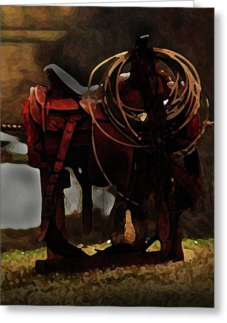 Working Man's Saddle Greeting Card by Kim Henderson