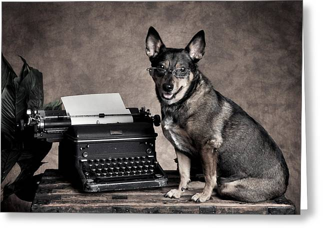 Working Office Dog In Glasses Greeting Card