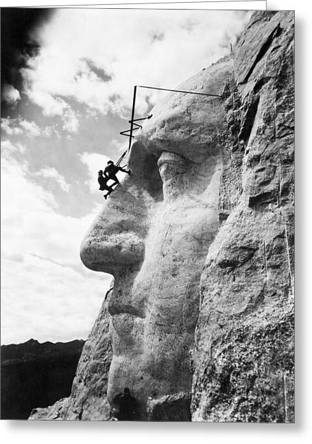 Working On Mt. Rushmore Greeting Card by Underwood Archives