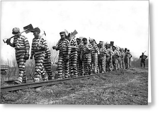 Working On The Chain Gang Greeting Card by Underwood Archives