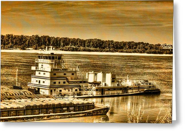 Working The River - Mississippi River Greeting Card