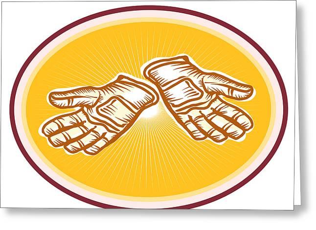Workman Utility Gloves Retro Greeting Card by Aloysius Patrimonio