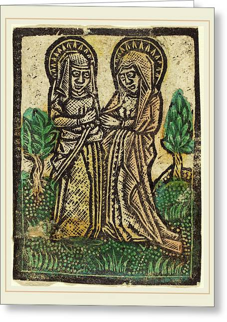 Workshop Of Master Of The Aachen Madonna, The Visitation Greeting Card by Litz Collection