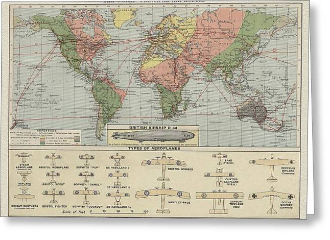 World Air Routes Map 1920 Greeting Card