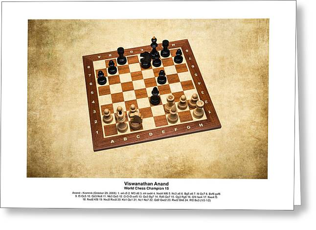 World Chess Champions - Viswanathan Anand - 1 Greeting Card by Alexander Senin