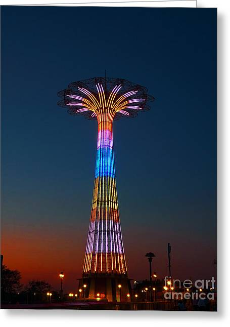World Famous Parachute Jump In Coney Island Beach Greeting Card