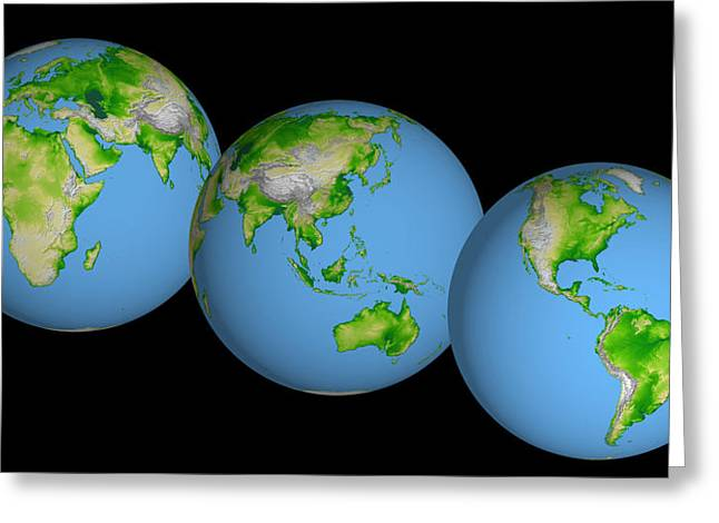 World Globes Greeting Card by Nasa Jpl