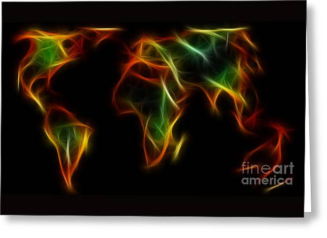 World Impressions - Abstract World Greeting Card by Kaye Menner