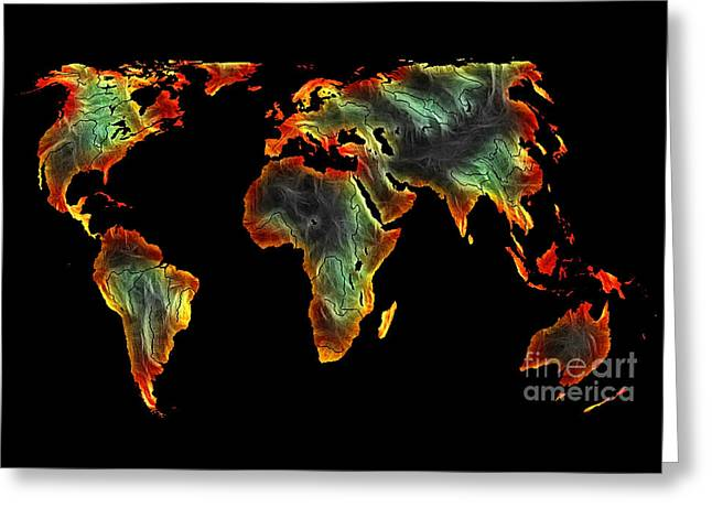 World Impressions - Colorful World Greeting Card by Kaye Menner