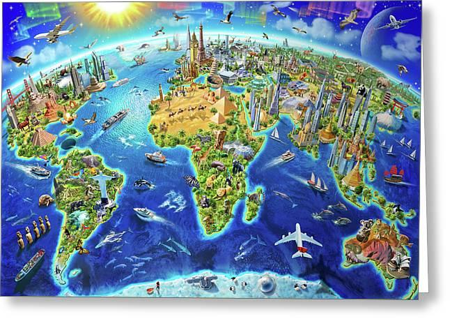 World Landmarks Globe Greeting Card