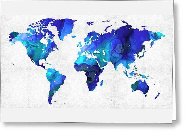 World Map 17 - Blue Art By Sharon Cummings Greeting Card