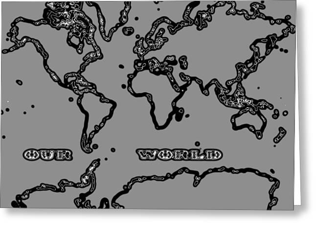 World Map Abstract Black And Grey Greeting Card by Eti Reid